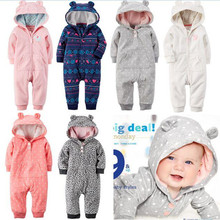 2015 New  brands Baby Girl Boy Winter Clothes Thickening Baby Rompers Polar Fleece Newborn Winter Coverall Hooded Baby Clothing(China (Mainland))