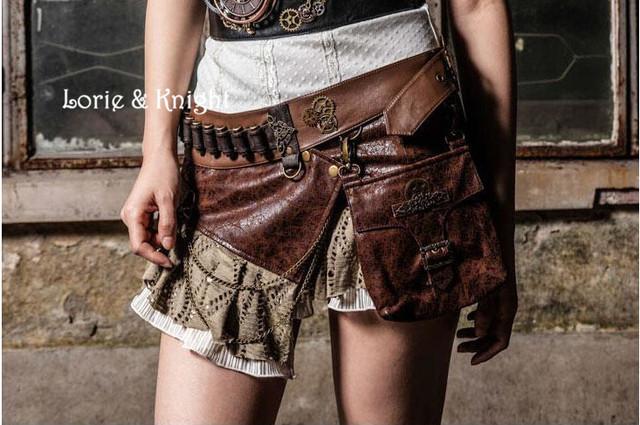 Rock Brown PU Steampunk Waist Bags+Skirt