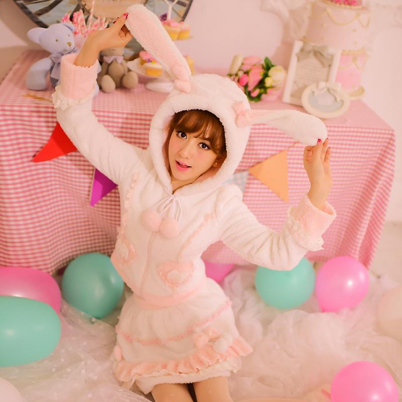 Princess sweet lolita coat Candy rain original winter new warm Japanese style lovely Cute hood fuzzy rabbit suit CR09 Одежда и ак�е��уары<br><br><br>Aliexpress