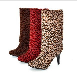 Size plus size shoes leopard print boots ultra high heels red knee-length boots beige brown(China (Mainland))