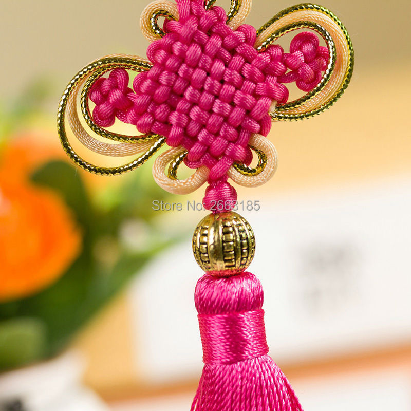 Free shipping HOT Feng shui Lucky China Knot Bead Color Pendant Mascot Home Decoration Health Protection Car or Door Decor