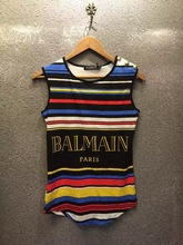 high-end custom Newly installed listing women tops tees Rainbow stripes Letter print t-shirt 2015 Fashion Cotton Women tshirt(China (Mainland))