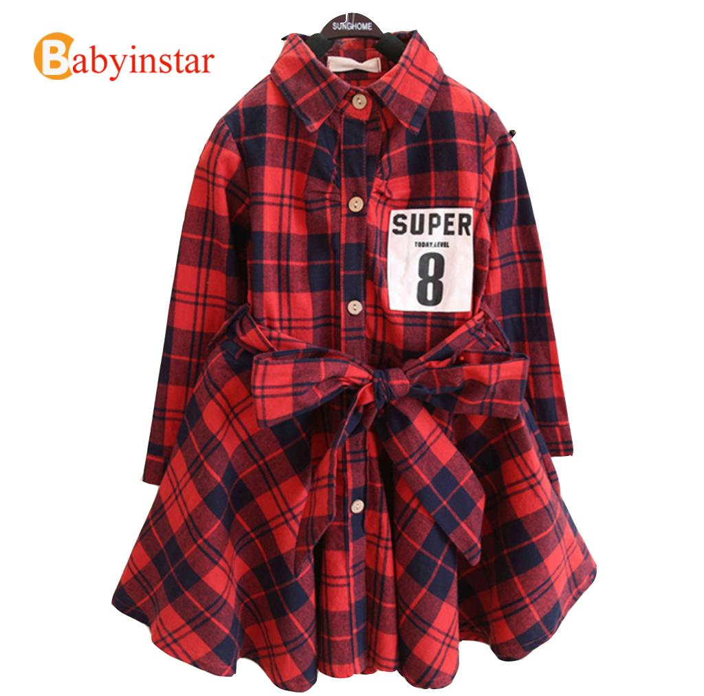 New 2016 Girls Spring Dress Kids Clothes European Style Classic Plaid Shirt Waist Dress Baby Clothes Long Sleeves Girls Dress(China (Mainland))