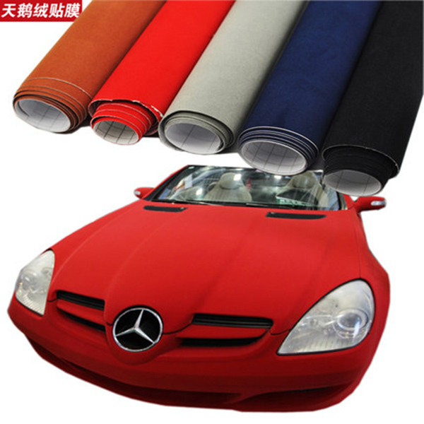 Good quality red adhesive alcantara velvet fabric suede - Decoration murale auto adhesive ...