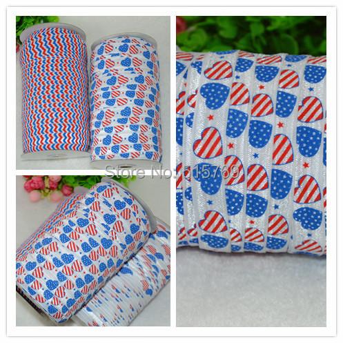 4th of July Pattern Elastic Ribbon-100yards Free shipping DIY baby headbands materials Elastic Ribbon Clothing Materials(China (Mainland))