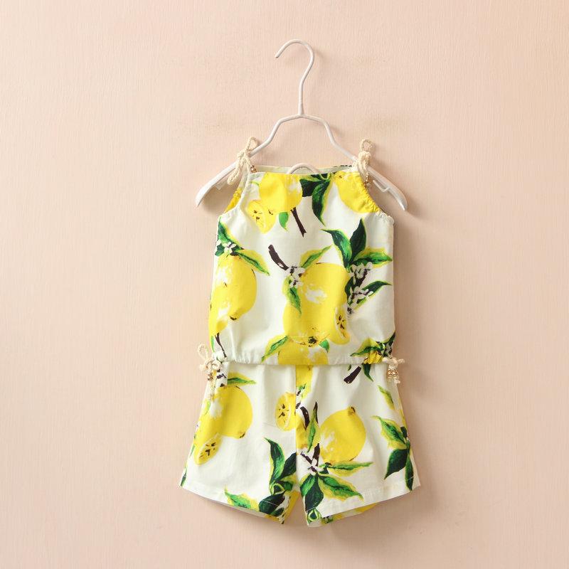 2016 hot selling fruit flower girls short sets summer kids clothes 100% cartoon China clothes(China (Mainland))