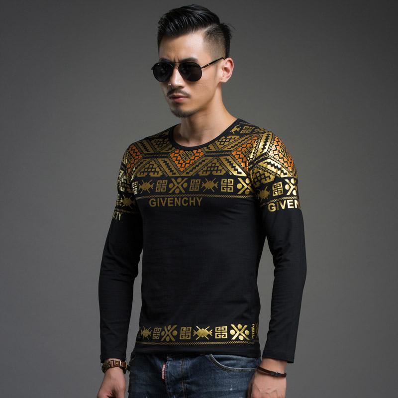 Baiye brand original design t shirt men long sleeve slim for T shirt design sleeve print