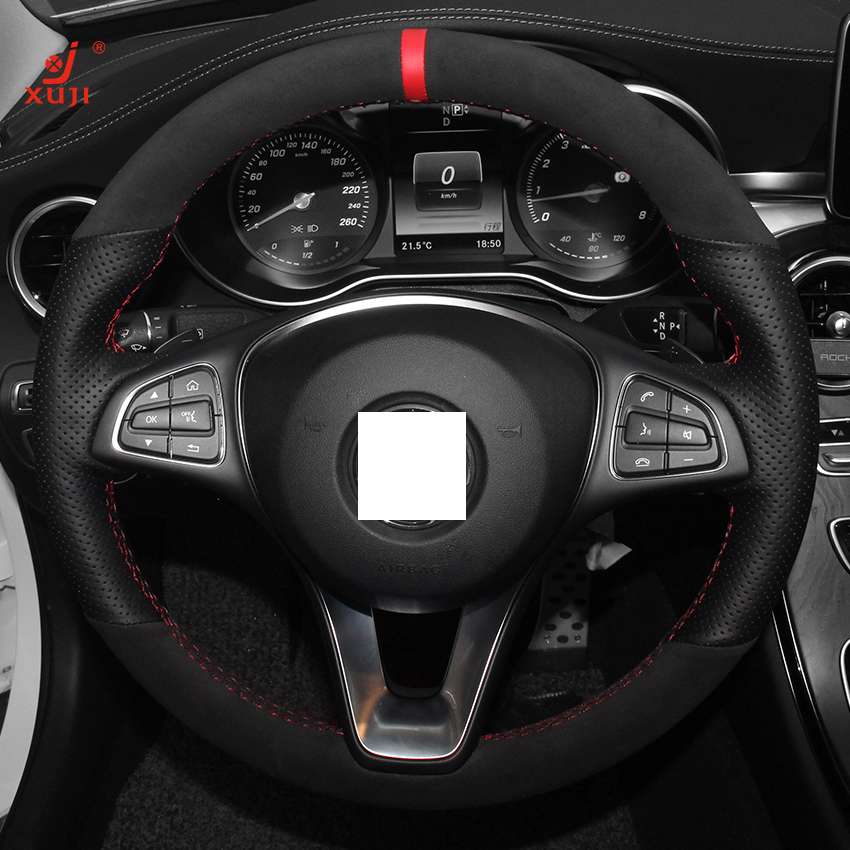 Xuji black genuine leather suede steering wheel cover for for Mercedes benz steering wheel cover