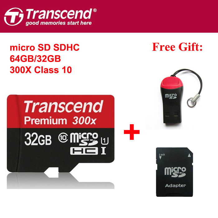 100% Original Transcend MicroSD Micro SD SDHC c10 45m/s 300x TF 32gb 64gb 16gb Memory Card Support Official Verification(China (Mainland))