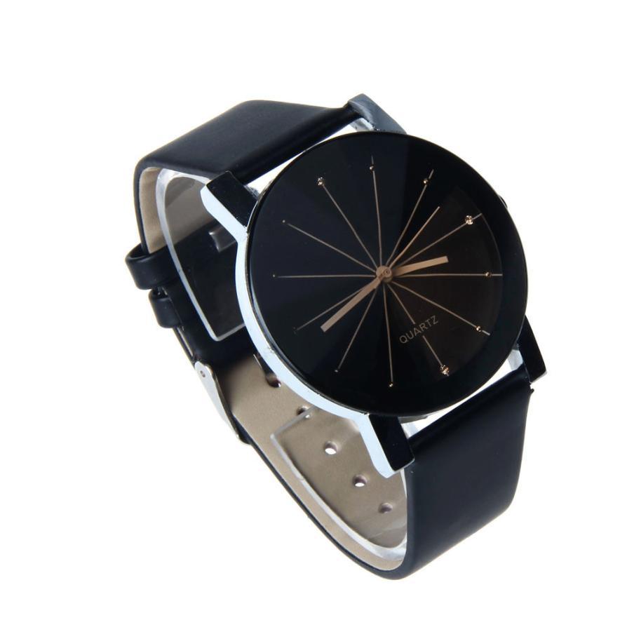 Гаджет  2015 High quality Men Black Business Convex Quartz Watch Dial Glass Round Case Clock Leather WristWatch Gift relogios masculinos None Часы