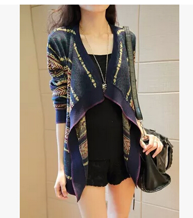 Fall 2016new fashion women's clothing Loose irregular long sleeve knitted shawl cardigan sweater restoring ancient ways D-0483(China (Mainland))
