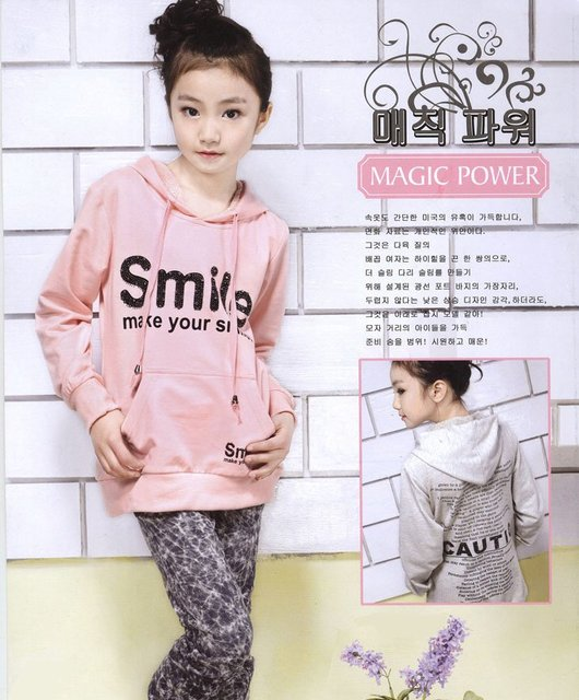 Free Shipping - Girls 8-14 year-old Long Sleeve Pink Cotton Pullover Hoodie Jersey Top Shirt with Letters Mixed Order