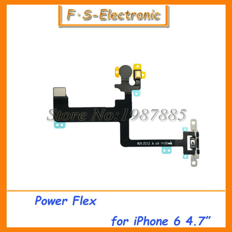 "10pcs/lot New High Quality Power Button Flex Cable for iPhone 6 4.7"" i6 Replacement parts Free shipping(China (Mainland))"