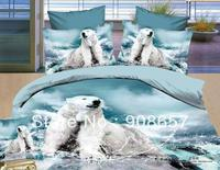 Full Queen Size Quilt Duvet Covers Cotton 3D Oil Painting Beddng Girl's Comforter Set White Polar Bear Blue Prints Bed Linens