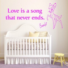 XL BAMBI Wall Stikcers For Kids Room Nursery Wall Decals Mural Amour est un chanson qui jamais les extremites WALT vinyle D505(China (Mainland))