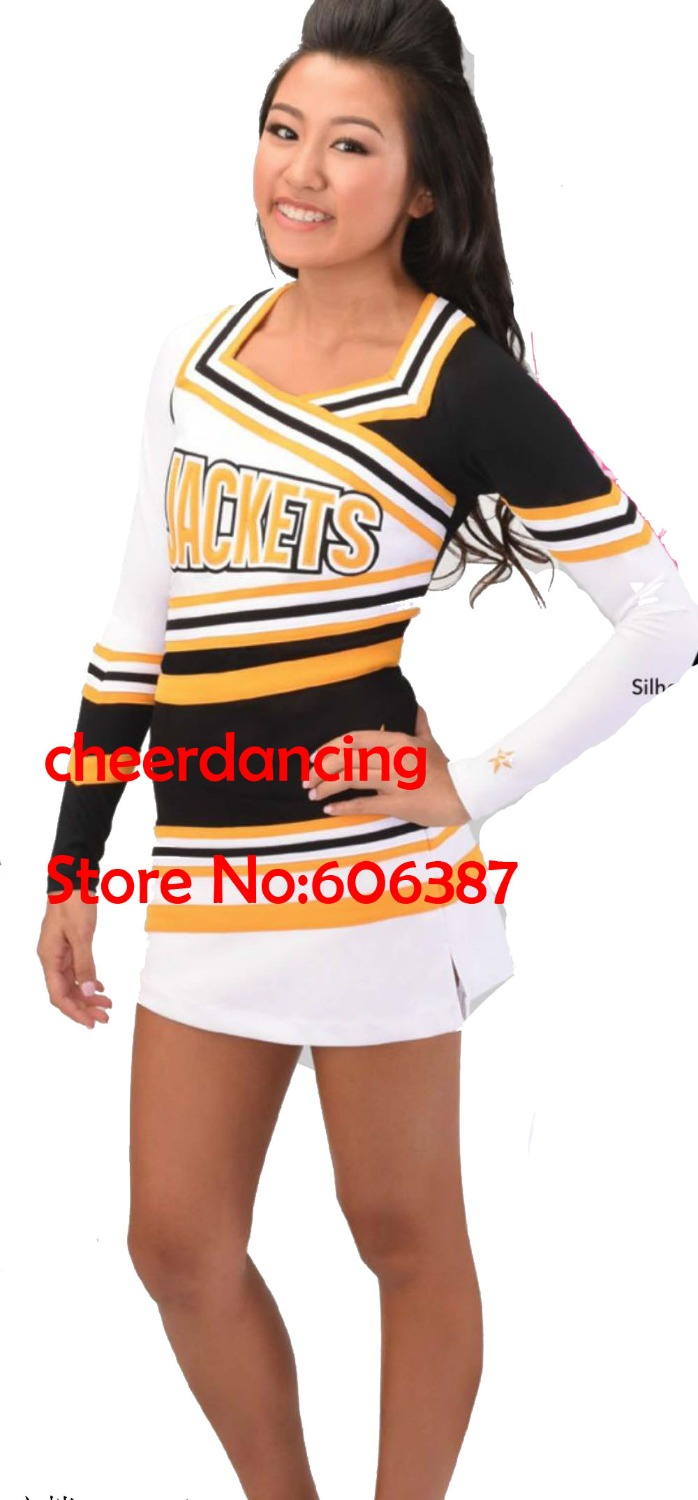 1 set  long sleeve style Girls cheerleader uniform cheerleader costume lycra fabric pick size pick style <br><br>Aliexpress