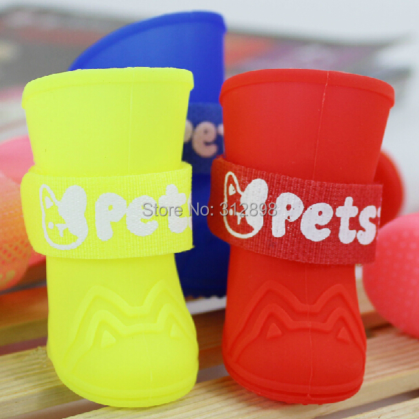 4pcs/set Candy Color Blue Pink Red Yellow Rain Puppy Dog Shoes With Cat Face gx28 Chihuahua Yorkshire Animals Pet Boots Product(China (Mainland))