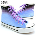 LEO Unisex Graffiti Hand Painted Canvas Shoes High Top Harajuku Style Gradient Rainbow Striped Colorful Shoes