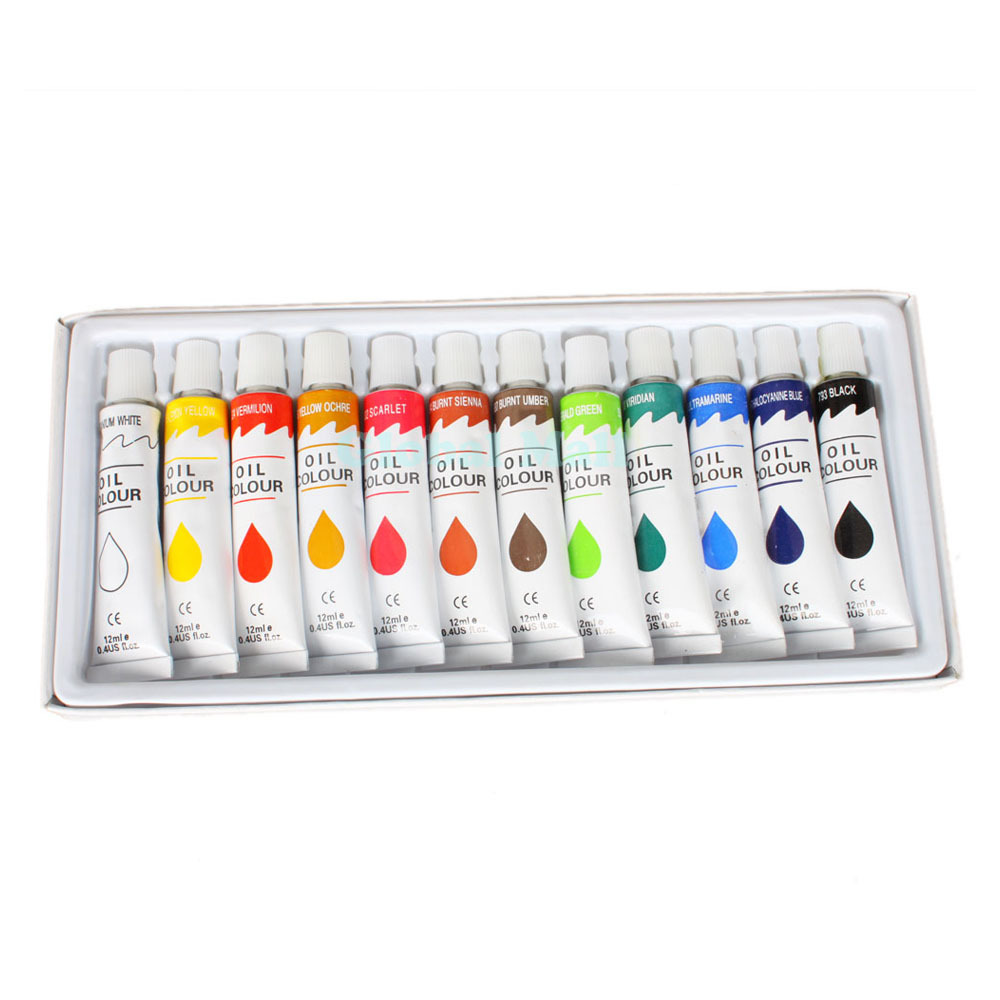 Ship from usa professional oil paints 12 tubes oil colours for Professional painting supplies