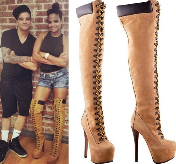 Tan Leather Thigh High Boots - Boot Hto