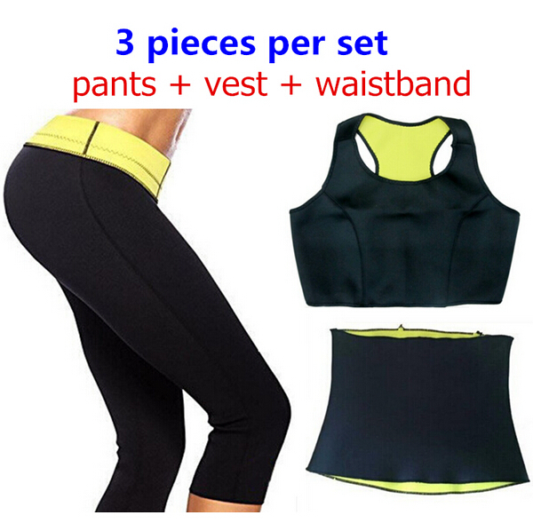 ( Pants + vest + corsets ) HOT Sell Super stretch neoprene Shapers Sports pants set Waist training corsets Women's Slimming Sets(China (Mainland))