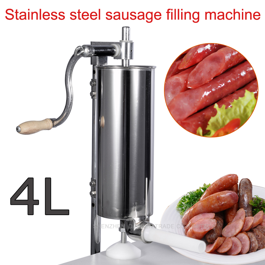 Free by DHL 3pc 4L Stainless steel Commercial Household Manual Vertical Sausage Filler Machine with 1.3,1.9,2.2 CM plastic pipe(China (Mainland))