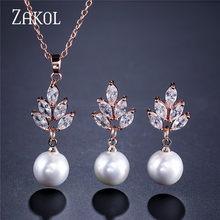 ZAKOL חדש AAA CZ Zirconia & סימולציה פרל Drop עגילי תליון שרשרת סט אופנה Ceystal אלגנטי נשים אביזרי חתונה(China)