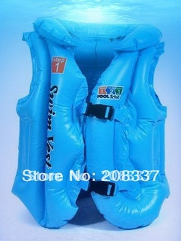 Hot selling 2pcs/lot inflatable pool school deluxe children swim vest life jacket  mixcolor -free shipping