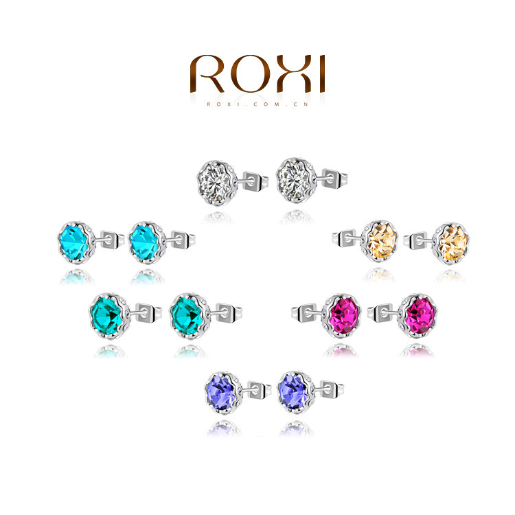 2014 Brand New ROXI Trendy Round Earrings Platinum Plated many color options,white blue purple pink yellow green2020905210 - Hot-Style store