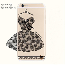 Transparent Soft TPU Classic Lace Flower Wedding skirt Phone Case Coque For Apple Iphone 6 6S Plus 6Plus Cover Red Dress Capa(China (Mainland))