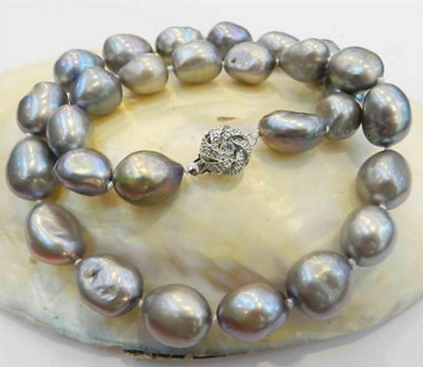 """Wholesale New Fashion excellent jeweller 10-12mm silver barocke pearl necklace 17""""(China (Mainland))"""