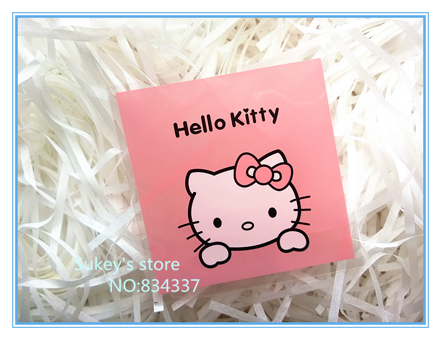 200pcs/lot pink hello kitty plastic packaging bags,7x7cm samll cookie bags food packing bag free shipping(China (Mainland))