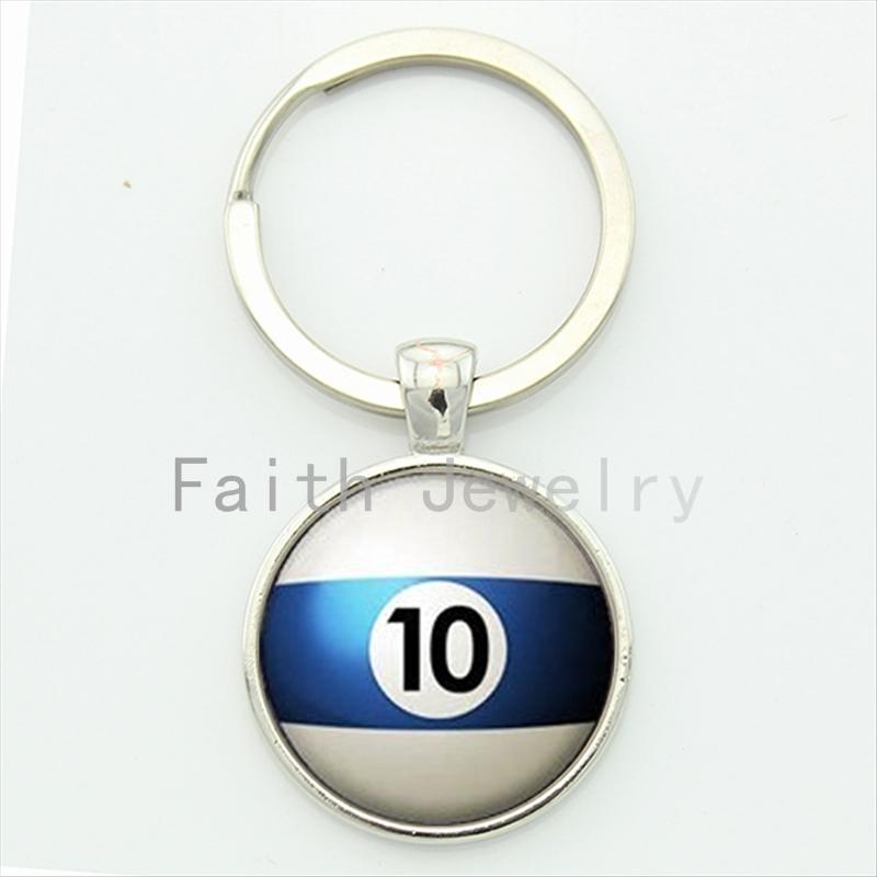 Number 10 Pool key chain Table Tennis sports Billiard Ball 10 keychain trending men jewelry handmade gift for best man KC470(China (Mainland))