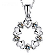 2016 New Fashion Women Silver Round shape Pendants Annulus Love Heart Crystal Rhinestone Necklace Pendant Jewelry(China (Mainland))