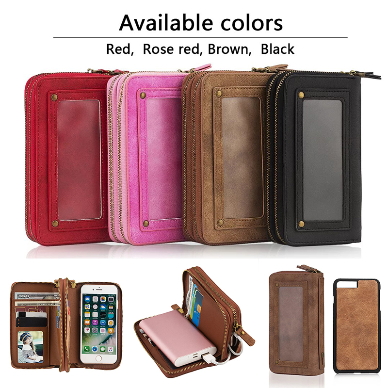 Luxury Zipper Handbag Wallet Leather Phone Case For iPhone 7 7 Plus 6 6S 5 5S SE Card storage Photo frame Large capacity Bag(China (Mainland))