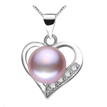 Lovely heart pendant necklace 100% genuine natural freshwater pearl necklace&pendant for women white/pink/purple three color(China (Mainland))