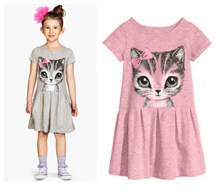 New Summer Girl Dress Cat Print Grey Pink Baby Girl Dress Children Clothing Children Dress 3-8 years New Arrival(China (Mainland))