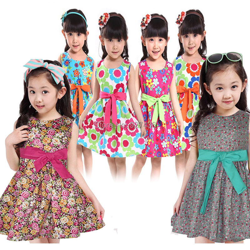 2015 new floral print vest Princess dress 3-10 years girls Summer dresses best quality cotton kids Baby girl clothing - richeng wang's Digital store