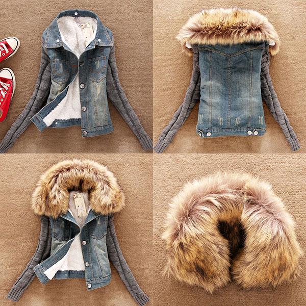 Верхняя одежда для женщин: зимняя женская джинсовая короткая флисовая изящная куртка с меховым воротником