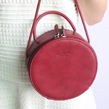 2016 Teeinco women's genuine leather handbag vintage brief cowhide small round lady bag crossbody shoulder bag LY-0090