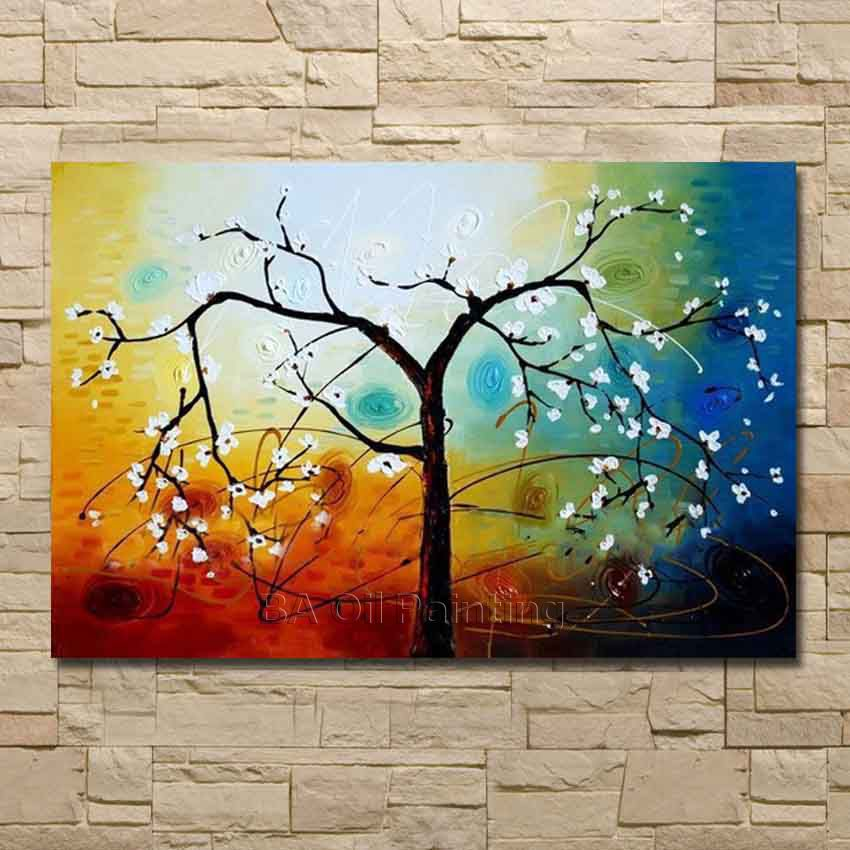 100% Hand Painted Spring Branches White Tree Abstract Landscape Stii Life Oil Painting Canvas Ready Hang Framed