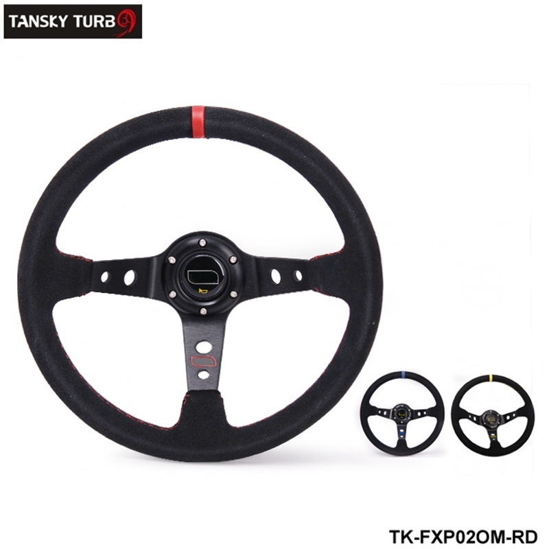 Tanksy -Modified steering wheel Suede leather steering wheel automobile race steering wheel TK-FXP02OM(China (Mainland))