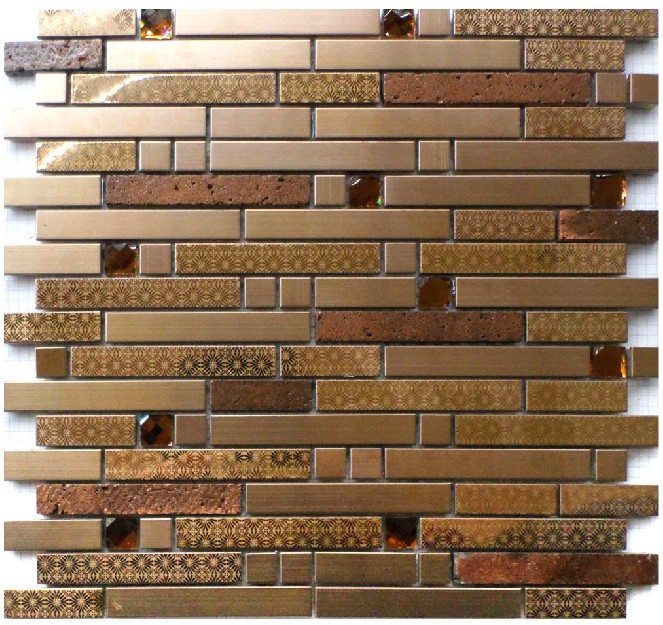 Copper glass tile backsplash