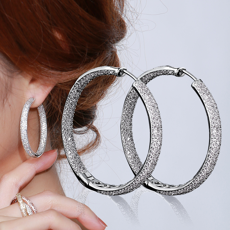 top quality hoop earrings real gold plated with white cz. Black Bedroom Furniture Sets. Home Design Ideas
