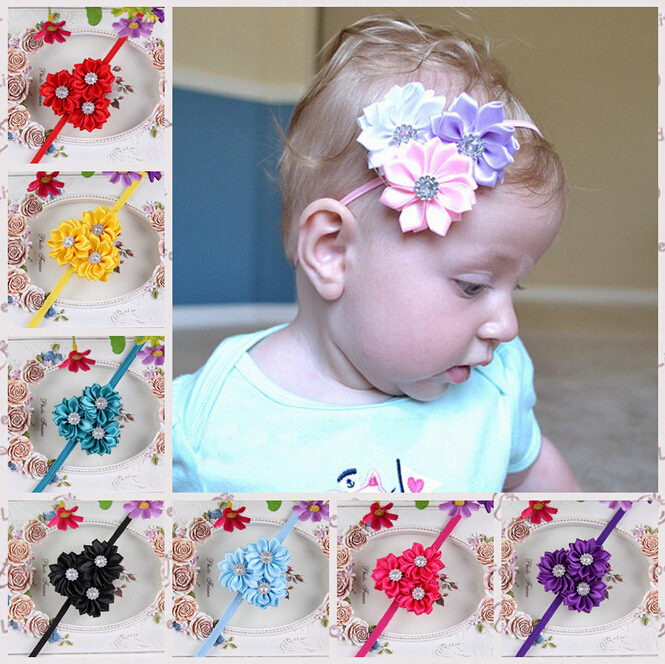Newborn Baby Girls Flower Headbands Hair Band Little Girl Cute Hairband Rhinestone Headwear Accessories 12colors Drop Shipping(China (Mainland))