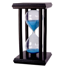 30 Minutes Crystal Transparent sand Hourglass Sandglass Timer With Black Wooden Holder Home Decor ampulheta Free shipping(China (Mainland))