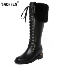 Buy News Russia Winter Warm Snow Boots Women Real Leather Thickened Fur Knee Boots Woman Flats Zip Shoes Woman Botas Size 34-42 for $58.98 in AliExpress store