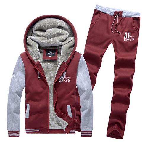 2015 autumn and winter new men's coat+pants Men's baseball uniform thickening fleece suit and wool korean coat free shipping(China (Mainland))