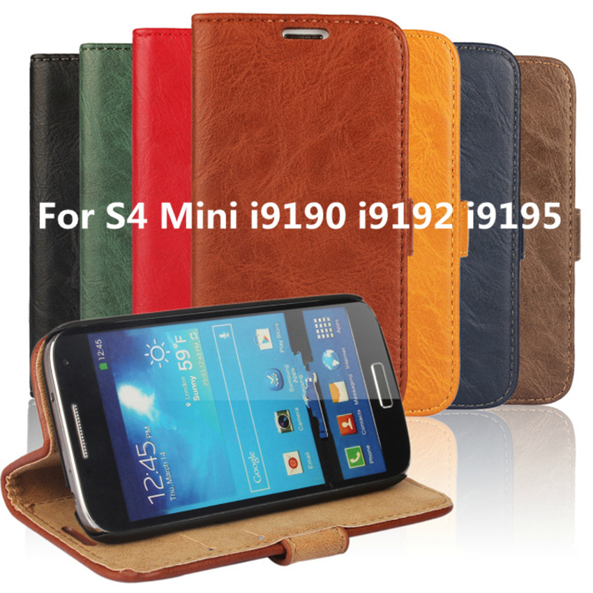 9192 9190 9195 Leather Case Flip Cover Holster For Samsung Galaxy S4 Mini I9190 I9192 I9195 Wallet Stand Leather Case