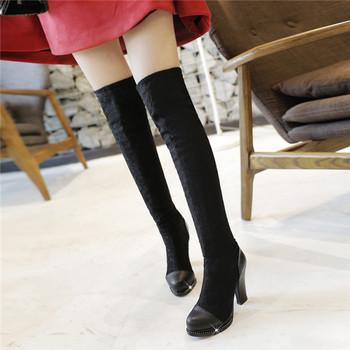 2015 новый зимний зрелого стиля сплошной цвет за - более-сапоги ботинки женщин квадратный каблук ботинки удобные и breathess женщины загрузки x110